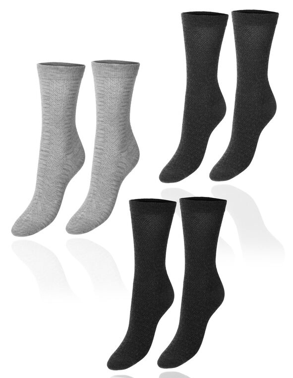 Grey Tall Crew Sock 3 Pack, Grey, hi-res