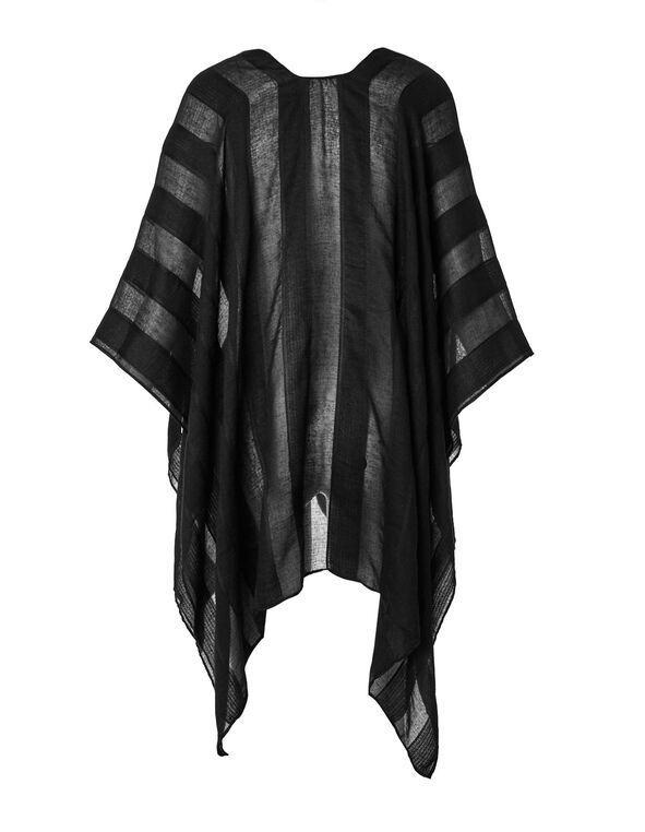 Black Sheer Stripe Kimono, Black, hi-res