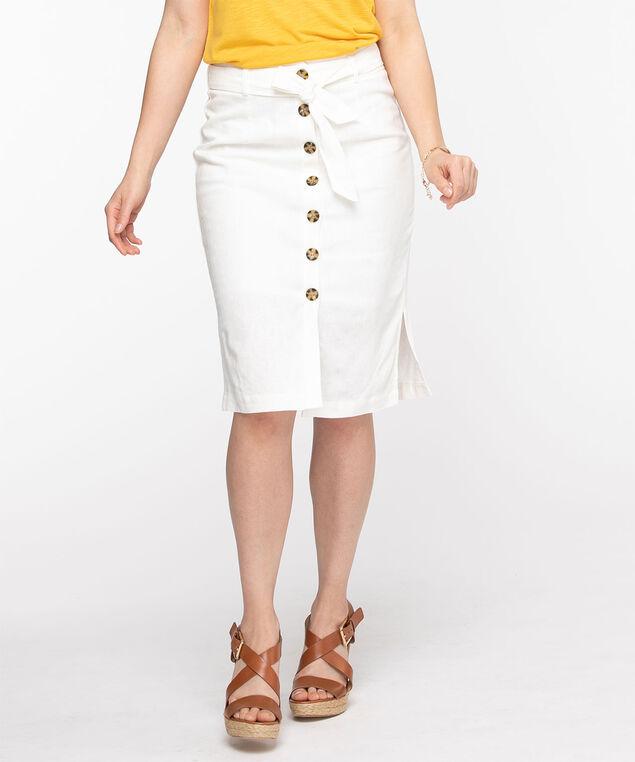 Linen Blend Button Front Pencil Skirt, Ecru