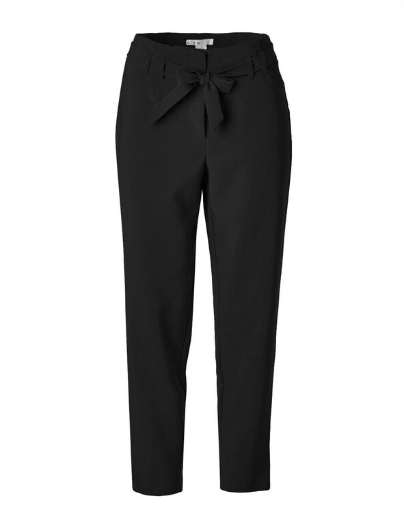 Black Belted Slim Leg Pant, Black, hi-res