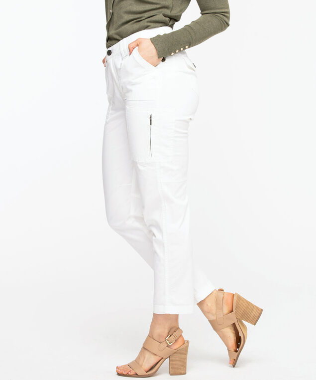Chino Cargo Ankle Pant, White