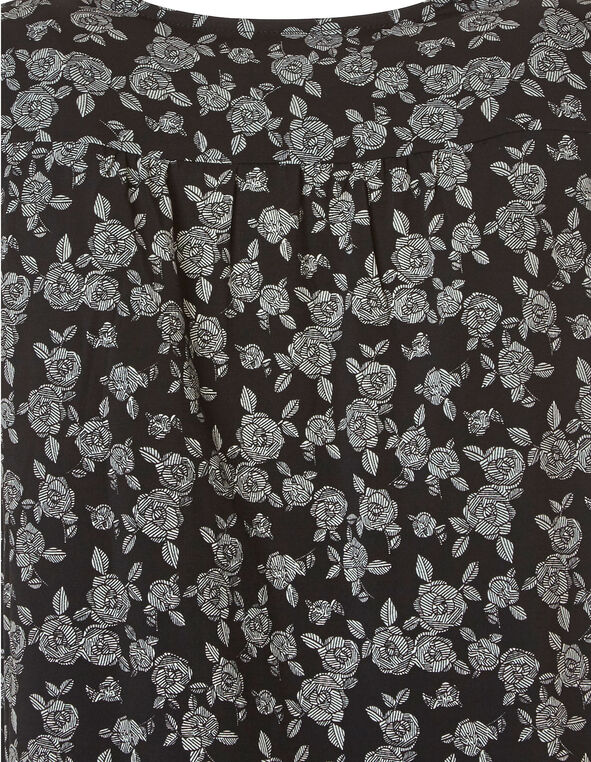 Black Floral Wrap Front Top, Black, hi-res
