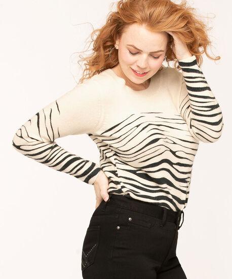 Ivory Zebra Print Sweater, Ivory/Black, hi-res