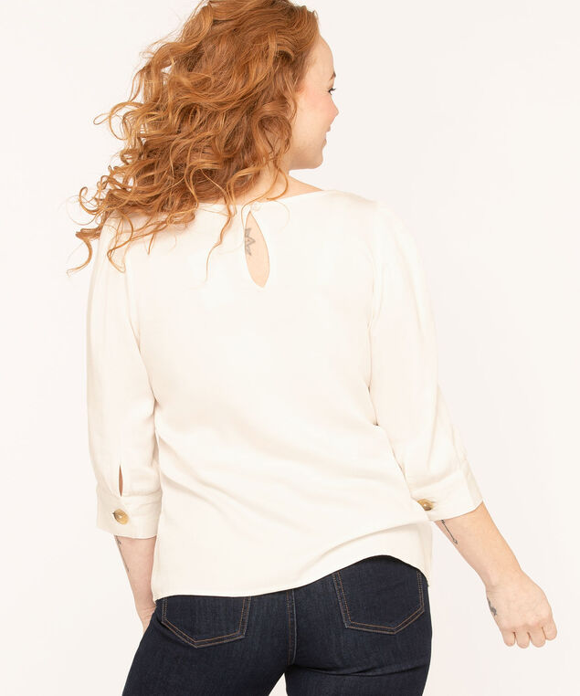Ivory Scoop Neck Blouse, Ivory