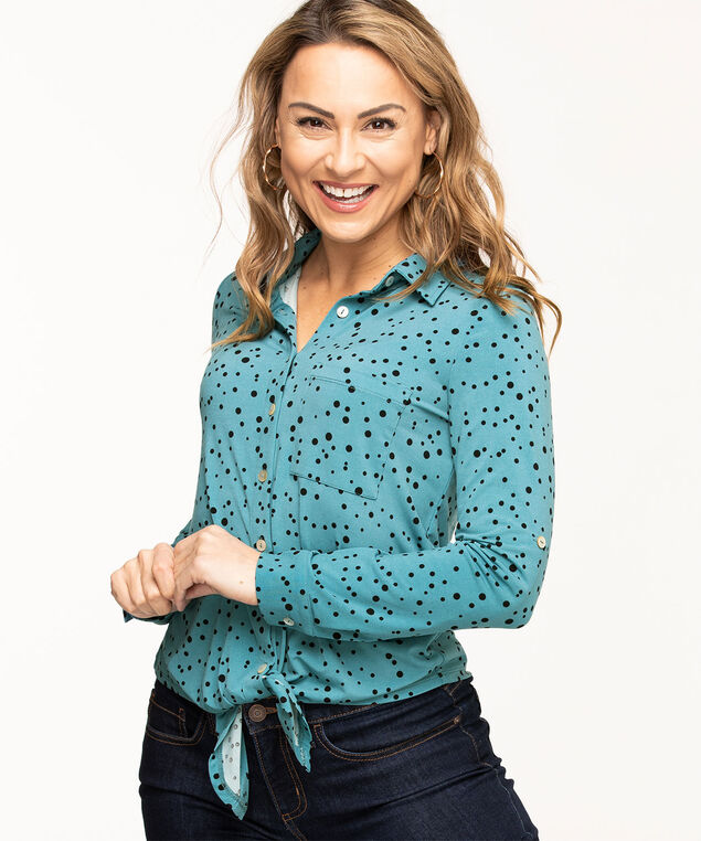 Long Sleeve Tie Waist Top, Teal/Black Dot