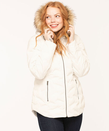 Feather Down Puffer Coat, White, hi-res