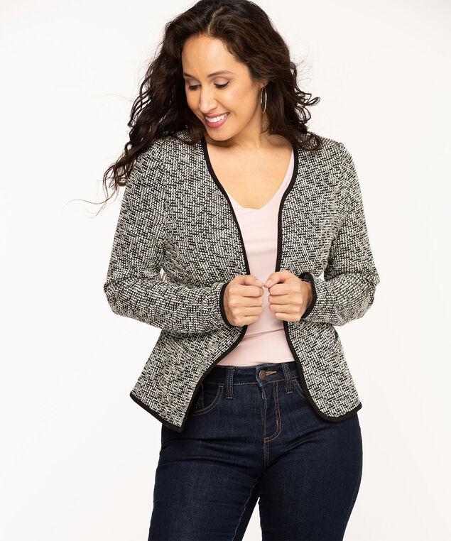 Collarless Black Jacquard Knit Jacket, Black/Ivory Mix