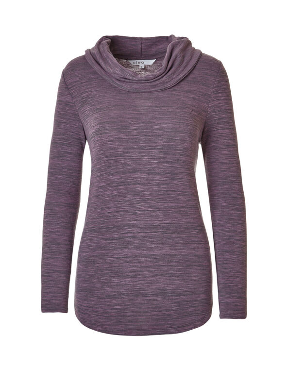 Orchid Space Dye Cowl Top, Orchid/Charcoal, hi-res