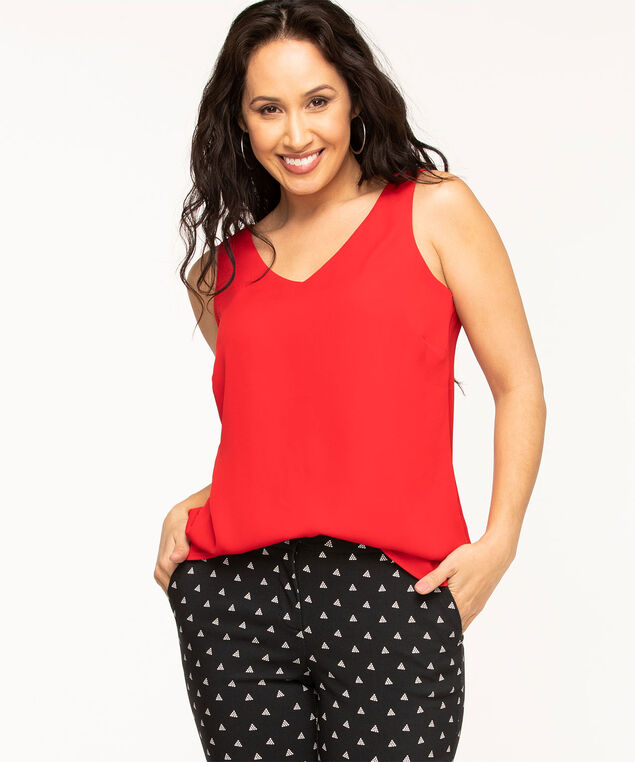 Sleeveless Woven Blouse, Red