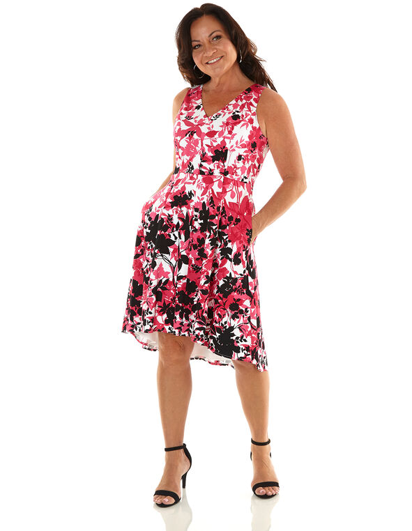 Hot Pink Floral Fit & Flare Dress, Hot Pink, hi-res
