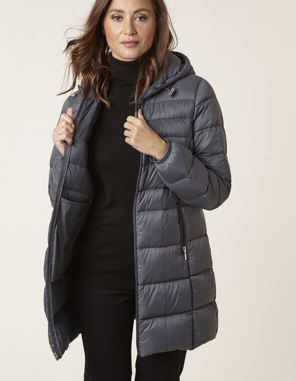 Grey Packable Down Jacket, Grey, hi-res