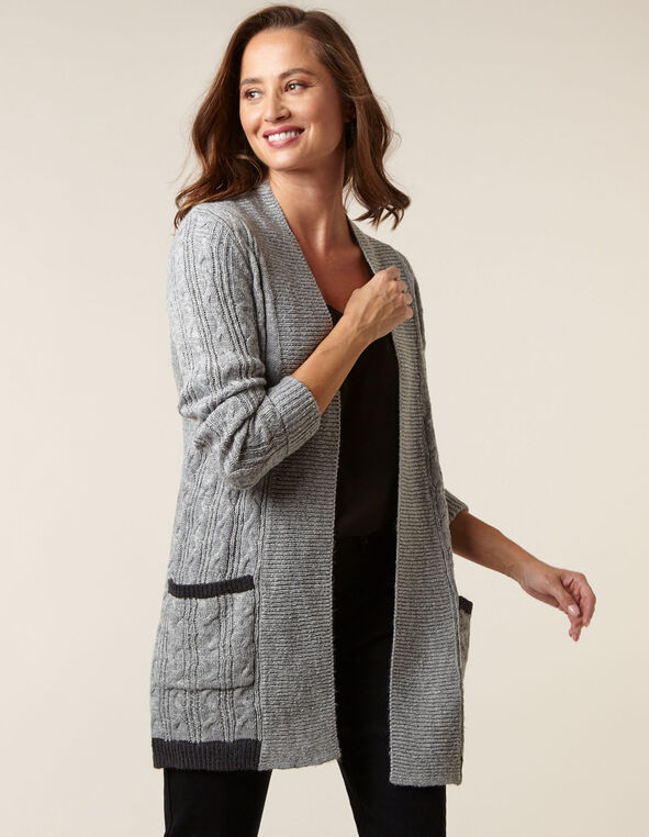 Grey Cable Knit Cardigan, Lt Grey, hi-res