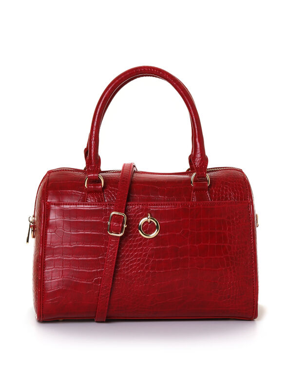 Red Croco Barrel Handbag, Red, hi-res