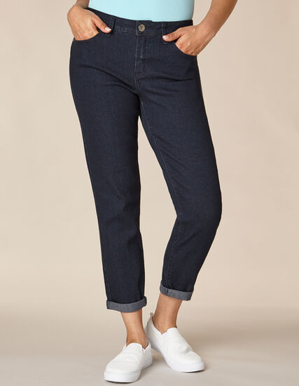 Dark Wash Butt Lift Slim Jean, Navy, hi-res