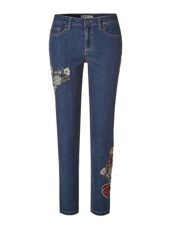 Velvet Floral Slim Leg Jean, Mid Wash, hi-res
