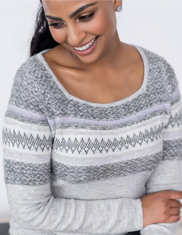 Grey Fair Isle Printed Sweater, Grey, hi-res