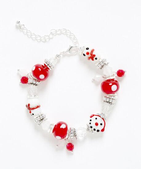 Snowman Beaded Bracelet, White/Red/Silver, hi-res