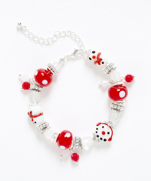 Snowman Beaded Bracelet, White/Red/Silver, hi-res