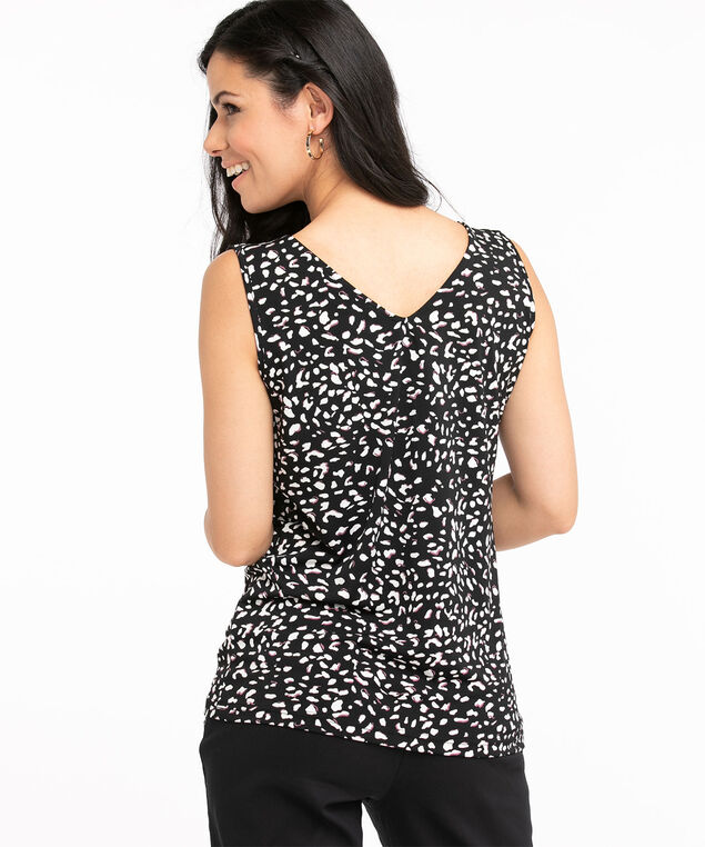 Recycled Sleeveless V-Neck Ruffle Top, Black/Ivory/Dark Purple Animal Print