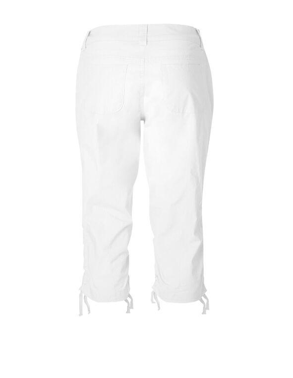 White Ruched Poplin Capri, White, hi-res