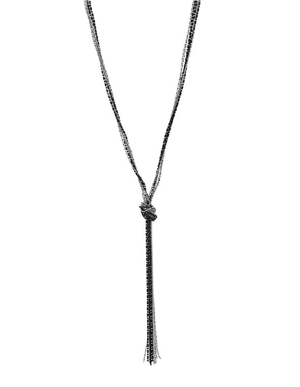 Long Black & Sliver Knotted Necklace, Black, hi-res