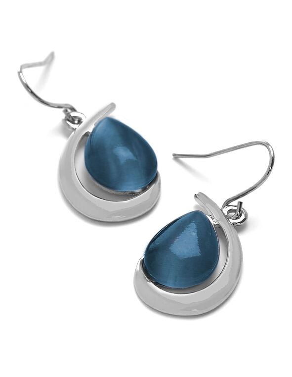 Blue Cat Eye Teardrop Earring, Blue, hi-res