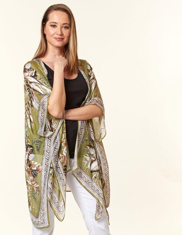 Green Tropical Leaf Kimono, Green, hi-res