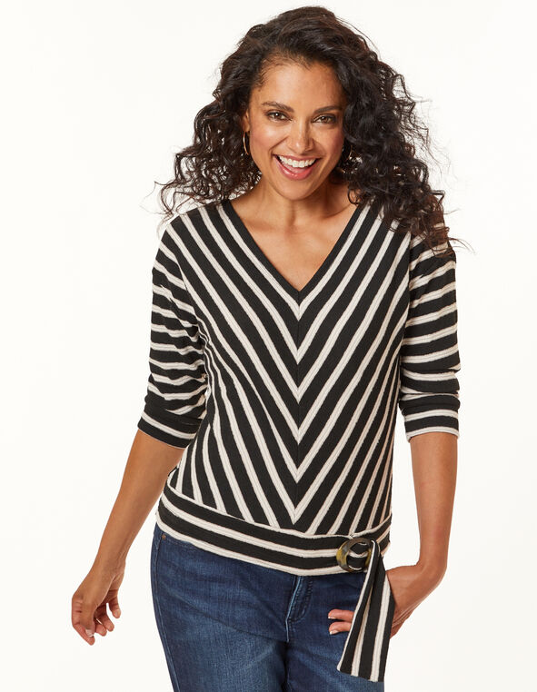 Stripe  Tie Front Top, Black, hi-res