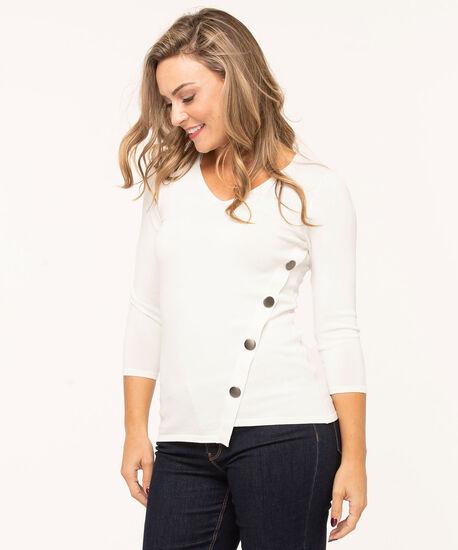 V-Neck Crepe Pullover Sweater, Ivory, hi-res