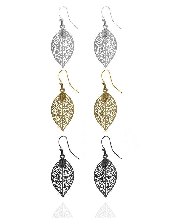 Delicate Leaf Trio Earring Set, Gold/Silver/Black, hi-res