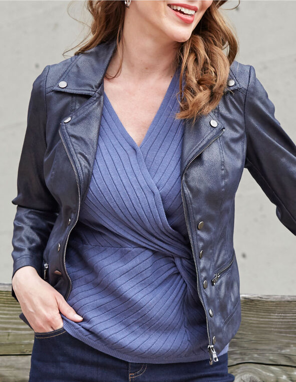 Navy Faux Textured Suede Jacket, Navy, hi-res