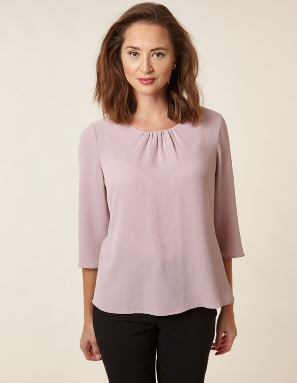 Blush Bubble Crepe Blouse, Rose, hi-res