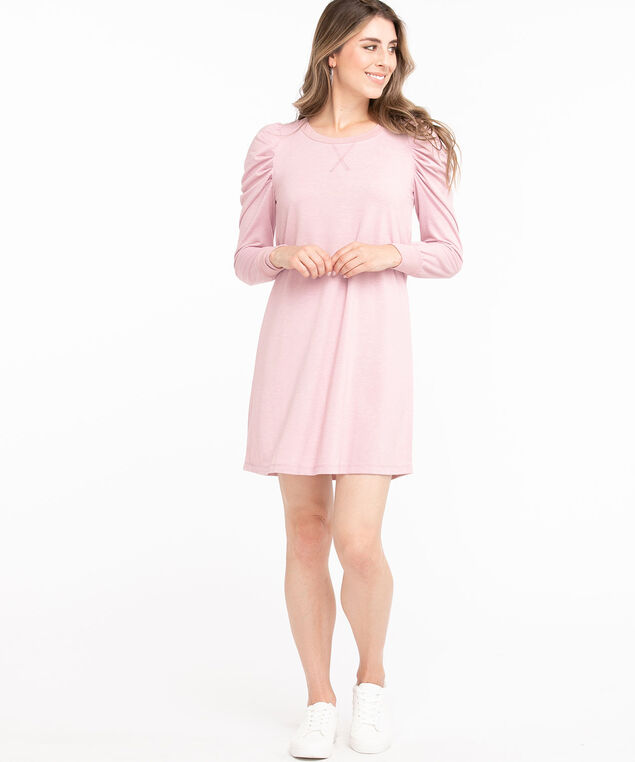 French Terry Puff Sleeve Dress, Soft Pink Mix