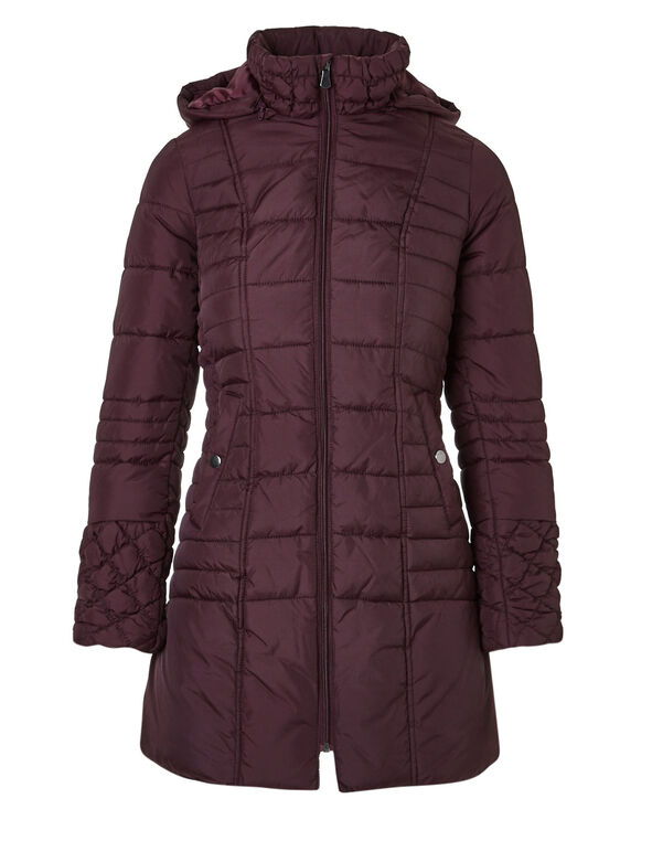Burgundy Faux Down Diamond Coat, Burgundy, hi-res