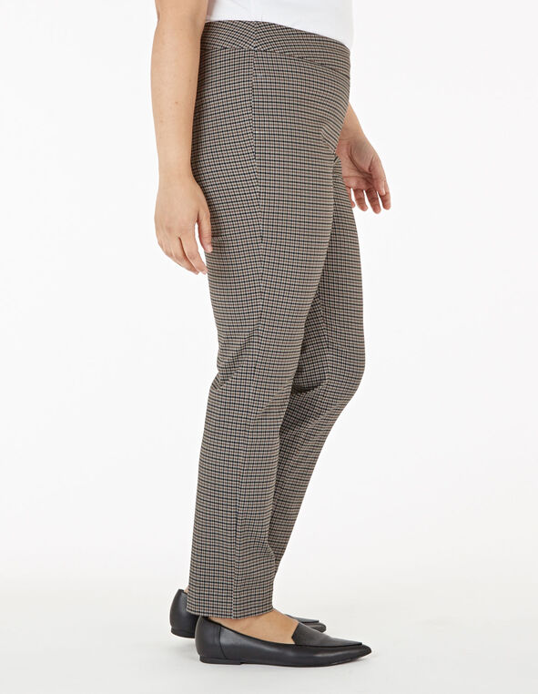 Brown Plaid Pull On Slim Pant, Brown, hi-res