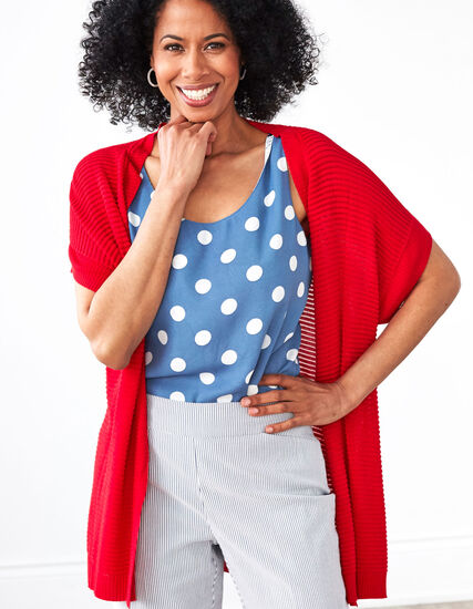 Red Ottoman Stitch Open Cardigan, Red, hi-res