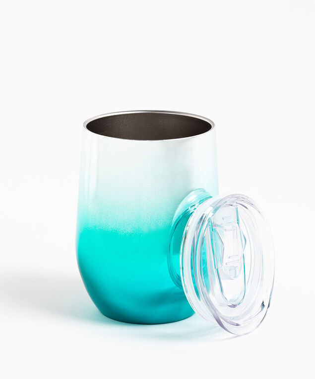 Insulated Wine Tumbler, Blue/Silver Metallic