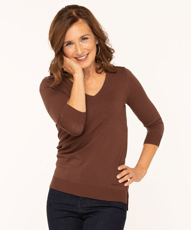 V-Neck Button Shoulder Pullover Sweater, Brown, hi-res