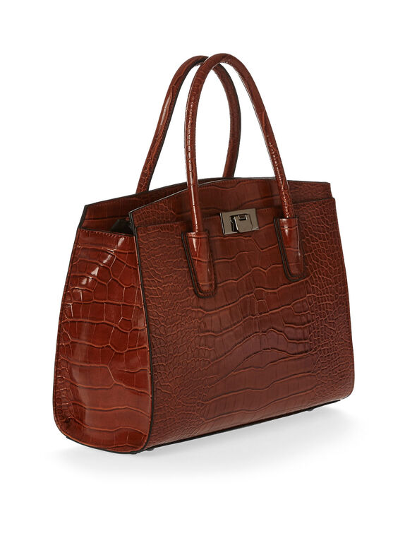 Cognac Croco Handbag, Brown, hi-res