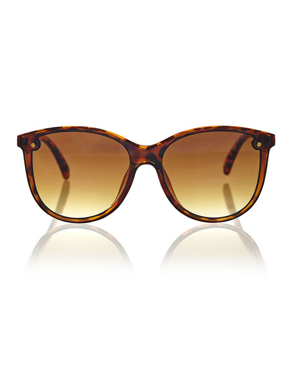 Brown Tort Large Frame Sunglasses, Brown, hi-res