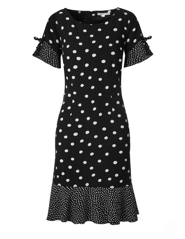 Black Polka Dot Ruffle Dress, Black, hi-res
