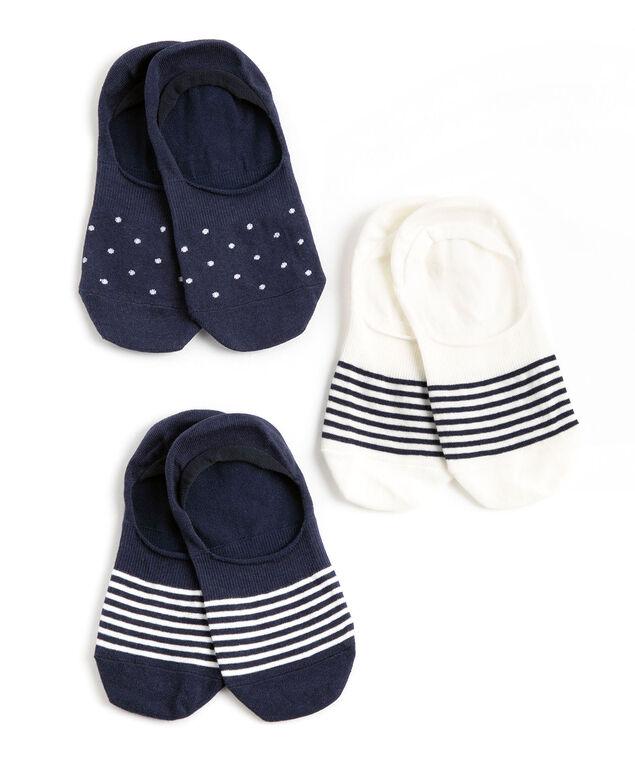 Navy/White No-Show Liner Sock 3-Pack, Navy/White