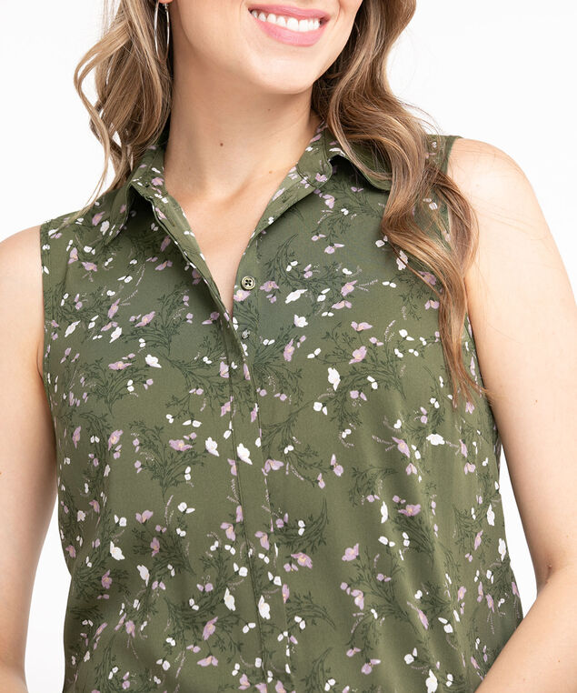 Sleeveless Collared Button Front Blouse, Pesto/Lilac/White Floral