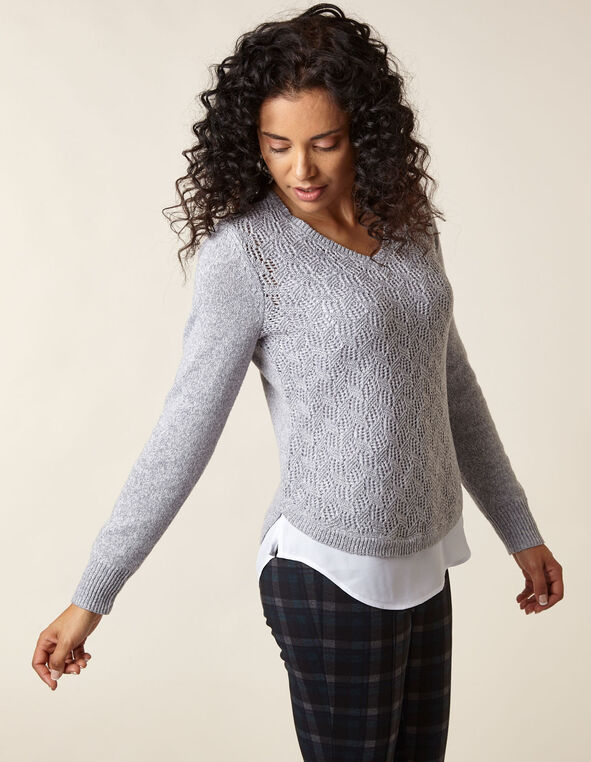 Light Grey Crochet Fooler Sweater, Light Grey, hi-res