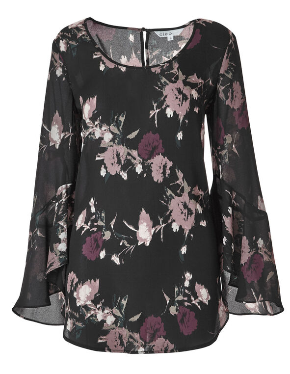 Black Floral Waterfall Sleeve Blouse, Black, hi-res