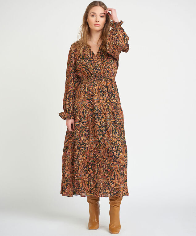 Dex Black Tape Paisley Maxi Dress, Orange Paisley