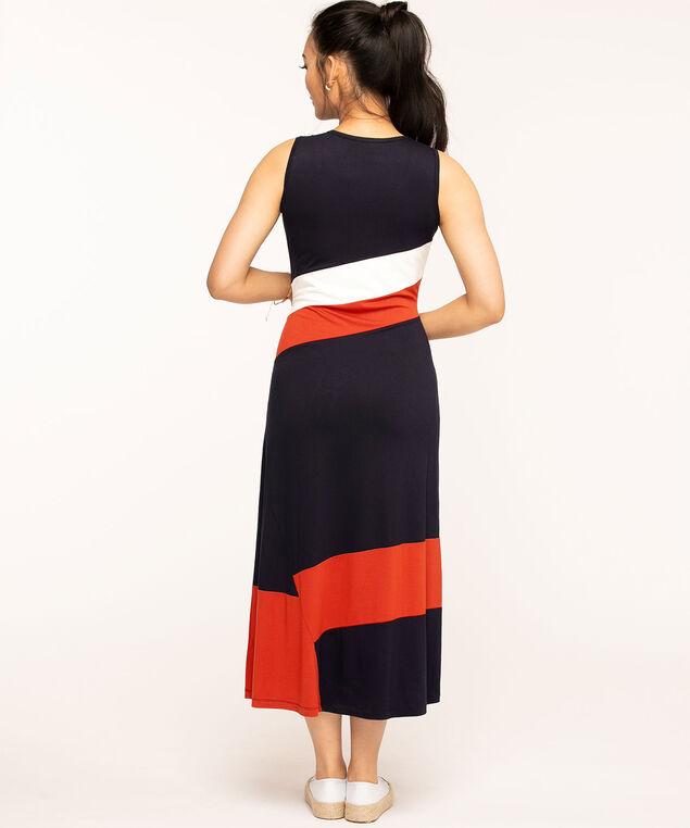 Sleeveless Scoop Neck Maxi Dress, Navy/Ivory/Red