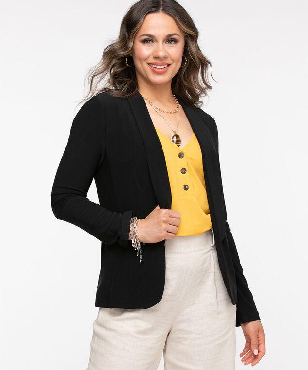 Black Slim Collar Open Blazer, Black