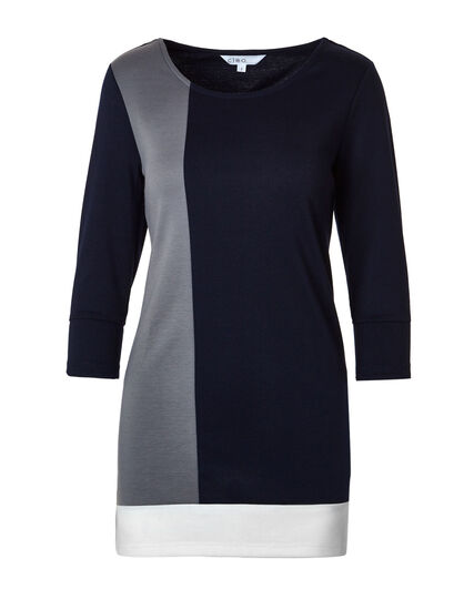 Navy Colour Block Tunic Top, Navy/Grey, hi-res