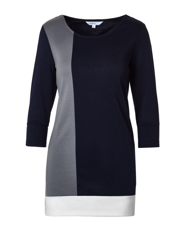 Navy Colour Block Tunic Top, Navy/Grey, hi-res